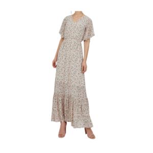 Suzy Shier Short Flutter Sleeve Ditsy Floral Maxi Dress